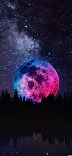 超级月亮全面屏高清壁纸