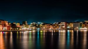 夜间水边城市风景4k壁纸