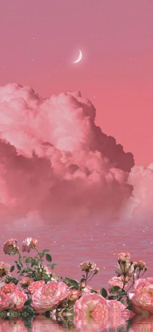 很美很治愈的粉色天空
