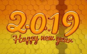 恭祝新年快乐2019创意数字图片