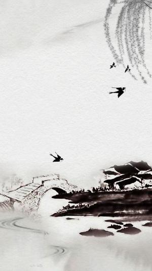 清明节气的中国风水墨画
