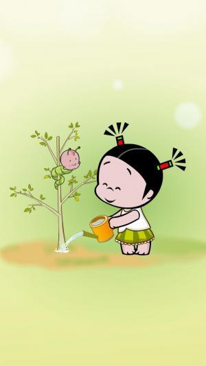 植树节种树手机插画图片