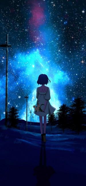 星空下的情侣一人一张唯美手机壁纸