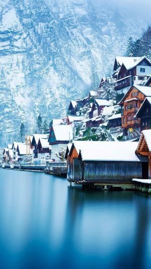 冬天的哈尔施塔特镇