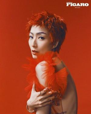 郑秀文红发造型个性时尚大片