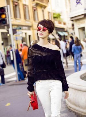 时尚达人金巧巧黑色大片巴黎街拍