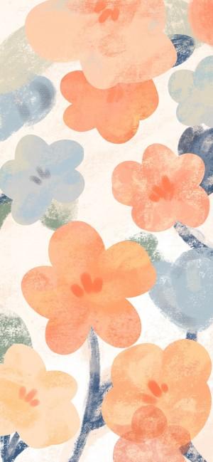 春天花卉油画风背景高清手机壁纸