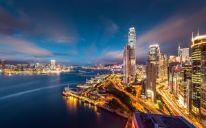 香港维多利亚港夜景唯美图片