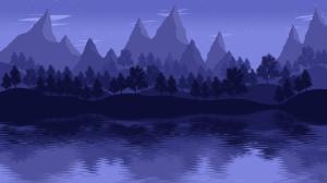 夜晚山水树林河流风景