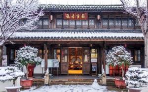 浙江海宁盐官古城雪景高清图片