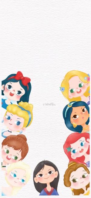 可爱迪斯尼公主头像手绘高清壁纸