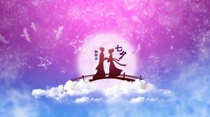 中国传统节日七夕情人节鹊桥相会图片