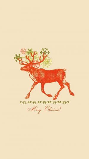 圣诞节的可爱驯鹿插画