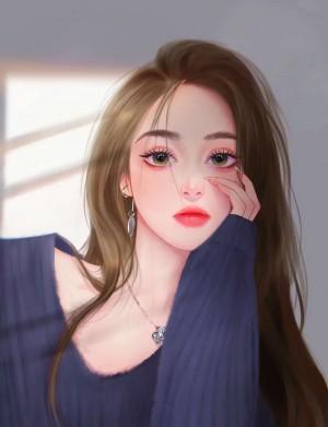 网红美女孙一宁唯美手绘头像图片