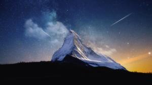 山 夜晚 星星 4k风景壁纸