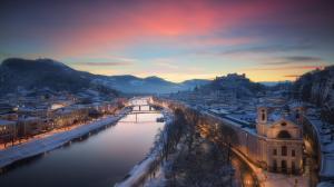 奥地利萨尔茨堡市冬季风景