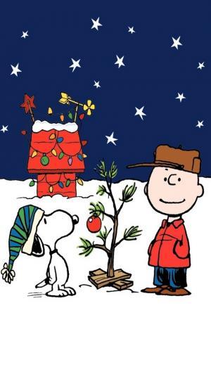 史努比的圣诞树插画