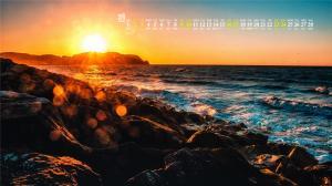 2019年2月唯美海边夕阳风景高清日历壁纸