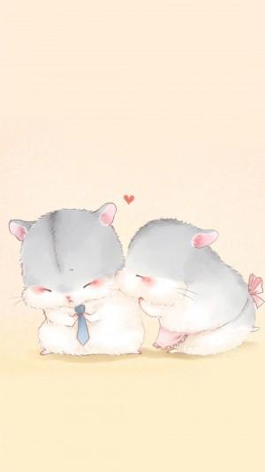 可爱的动物情侣插画图片