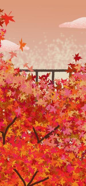 立秋时的枫叶手绘图片