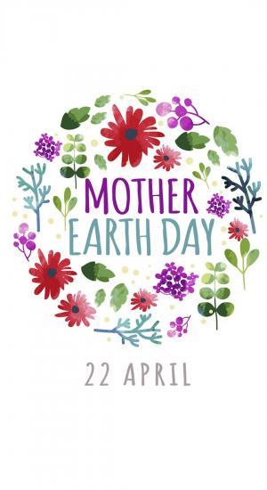 4月22日世界地球日简约创意花环插画高清手机壁纸