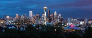 西雅图市中心黄昏风景3440x1440壁纸