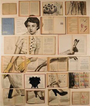 艺术家使用旧书和旧文件作画