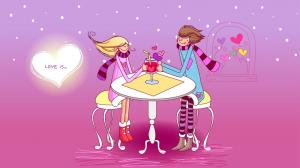浪漫情侣插画图片壁纸