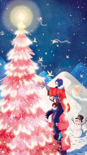 手绘甜美情侣圣诞节插画手机壁纸