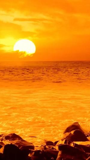 耀眼大海日出风光