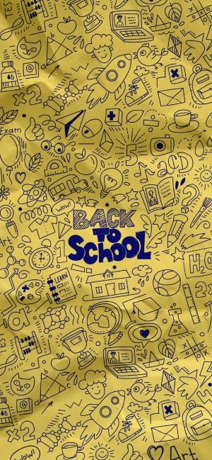 开学季创意全面屏高清手机壁纸