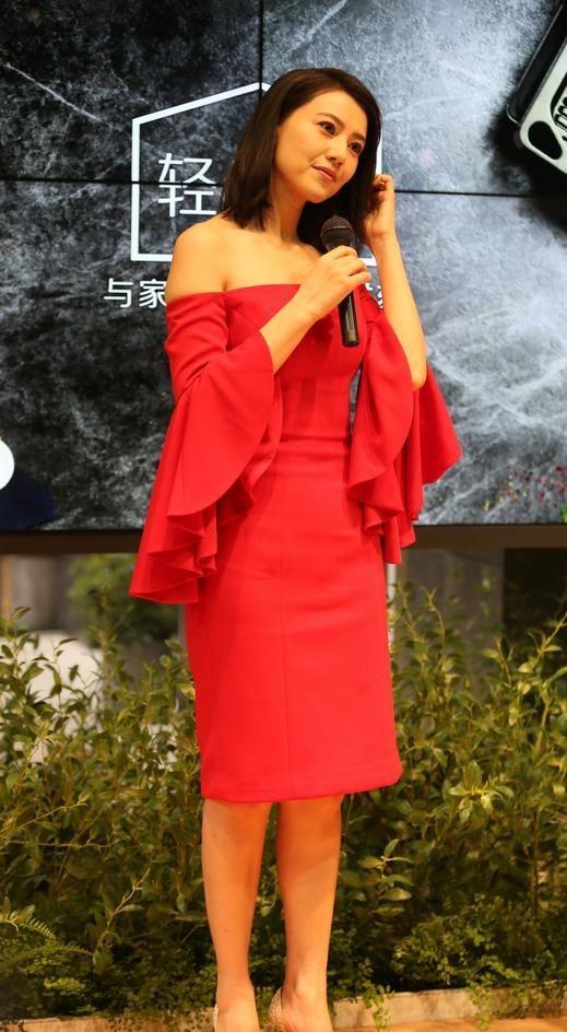 高圆圆红裙亮相大气优雅写真