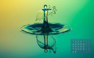 2019年4月水滴溅起的水花特写日历壁纸