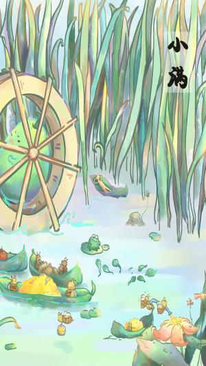 小满节气麦田青蛙蝌蚪蜜蜂可爱绘画图片