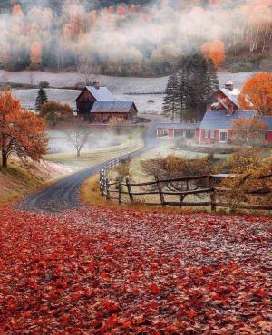 佛蒙特州亨廷顿小镇的秋天