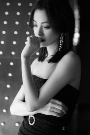 辛芷蕾胧纱透视长裙优雅大气写真图片