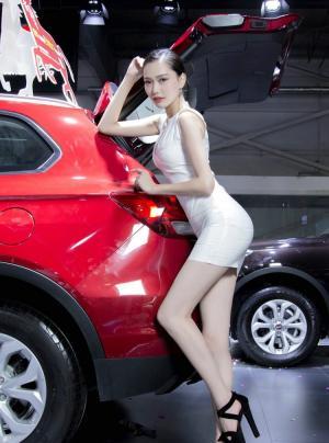 短裙娇柔性感车模