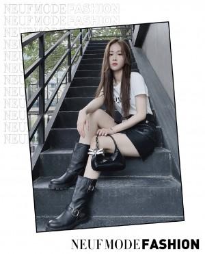 徐紫茵黑色皮裙时尚写真图片