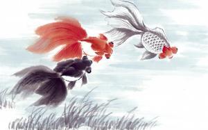 吉祥如意锦鲤插画高清桌面壁纸图片