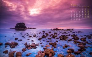 2019年2月海岸礁石唯美高清日历壁纸