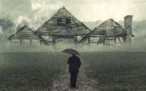 男人孤独淋雨伤感背影