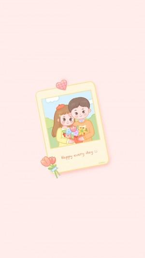 超可爱的小清新情侣卡通插画手机壁纸