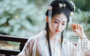 2019年2月清纯仙气古风美女高清日历壁纸