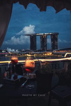 在Fullerton屋顶酒吧看新加坡的夜景