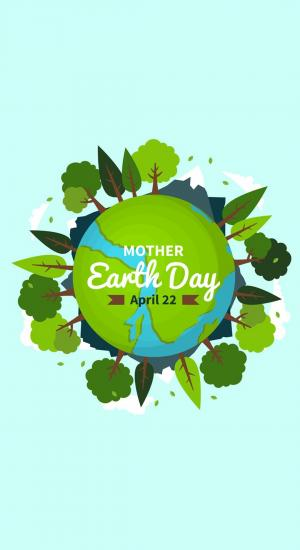 4月22日世界地球日爱护地球保护家园创意插画