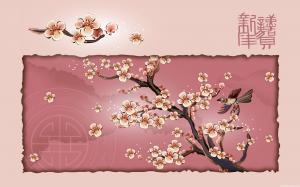 春节矢量花鸟画