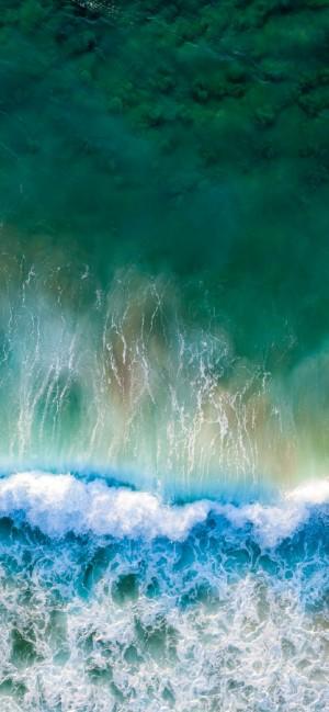 唯美海浪自然风景全面屏高清手机壁纸