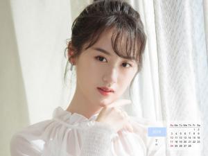 2019年2月袁冰妍清新写真日历桌面壁纸