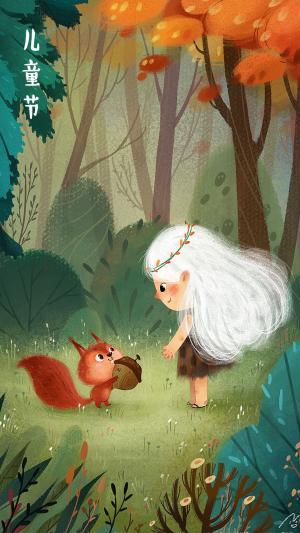 儿童节白发女孩和小松鼠唯美手绘图片