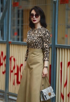 陈数豹纹女郎时尚气质街拍图片壁纸